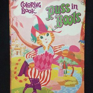 5/$25 VTG 1977 Puss in Boots Coloring Book Unused